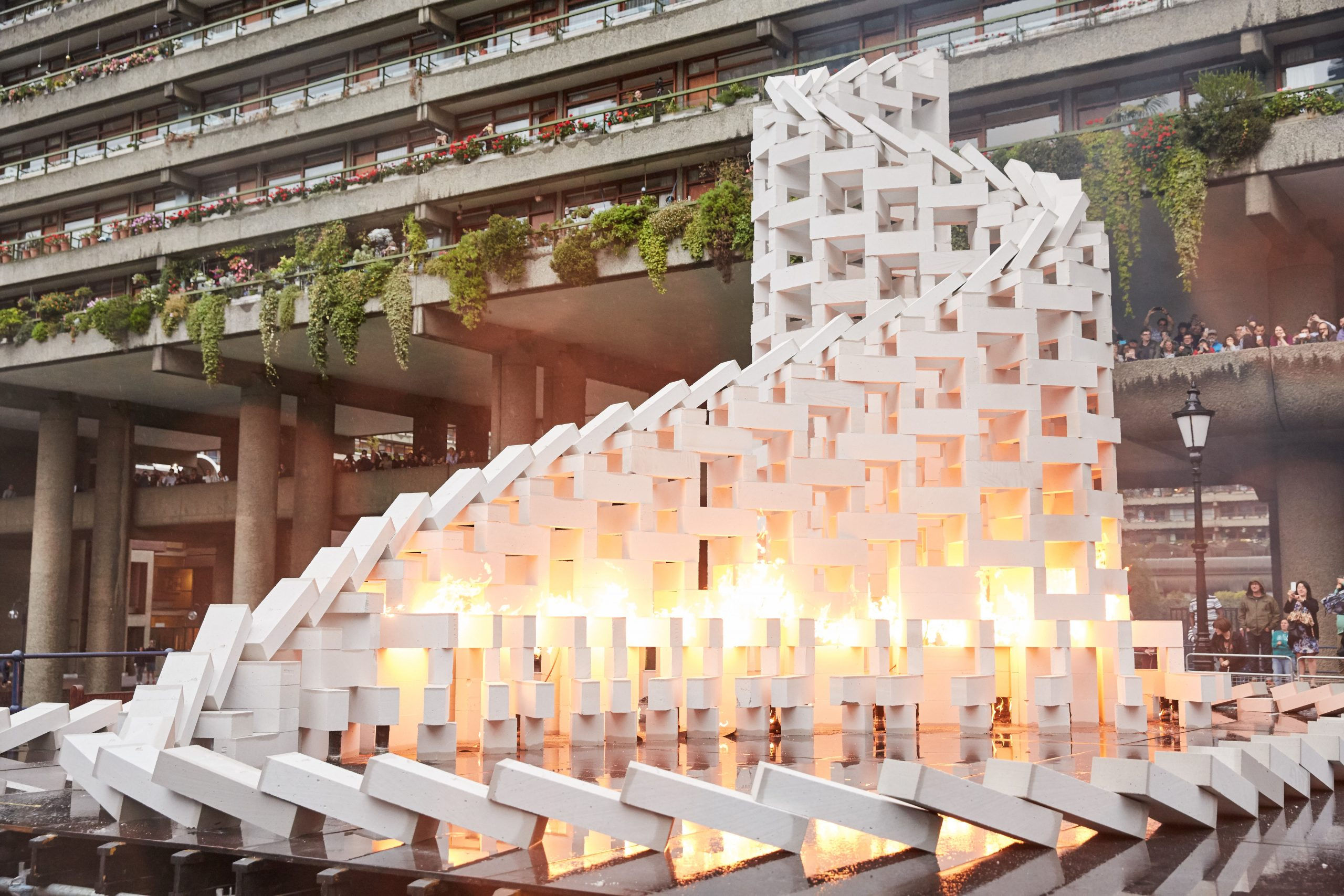 Breezeblocks built into a structure outside of the Barbican