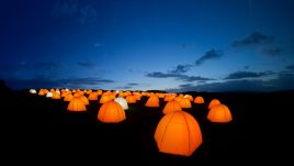 Peace Camp at Cuckmere Haven, East Sussex at dusk