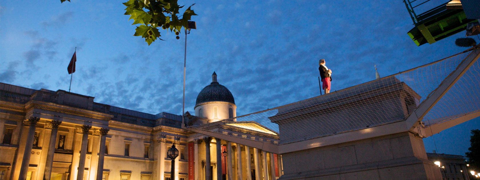 Person standing on the fourth plinth for One & Other