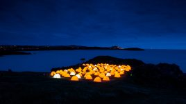 Peace Camp at Cemaes Bay, Anglesey at dusk