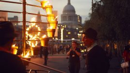 Fire Garden, Compagnie Carabosse, London's Burning, a festival of arts and ideas for Great Fire 350. Produced by Artichoke. Photo by Matthew Andrews