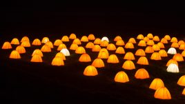 Peace Camp at Dunstanburgh Castle, Northumberland at night