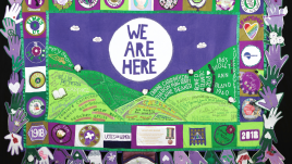 A green a purple banner with the words
