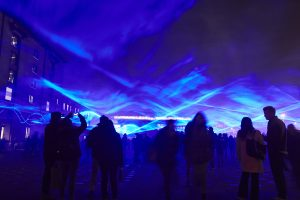 Waterlicht by Daan Roosegaarde, Granary Square, Kings Cross. Lumiere London 2018, 18 - 21 January, produced by Artichoke and commissioned by the Mayor of London. Photo by Matthew Andrews