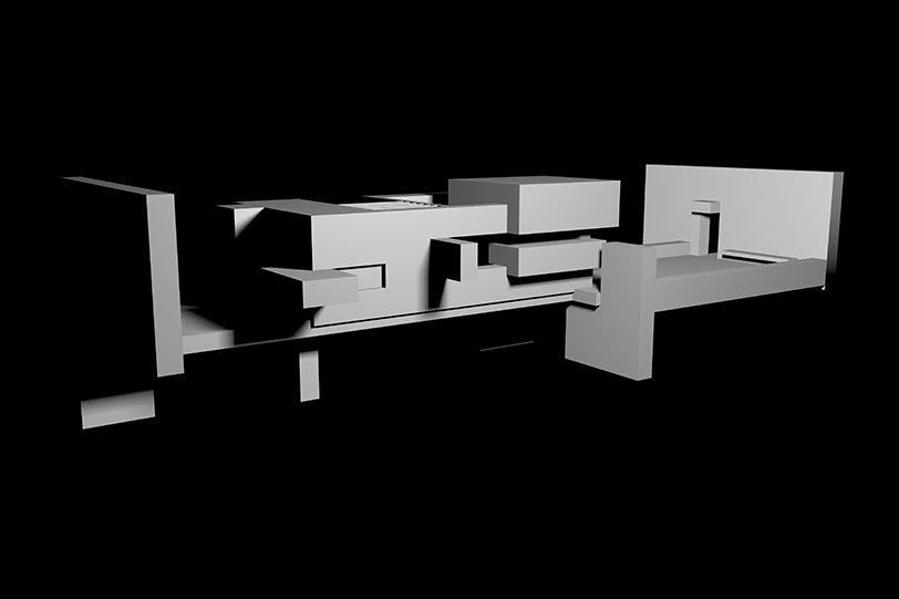 Monochrome graphic of geometric shape.