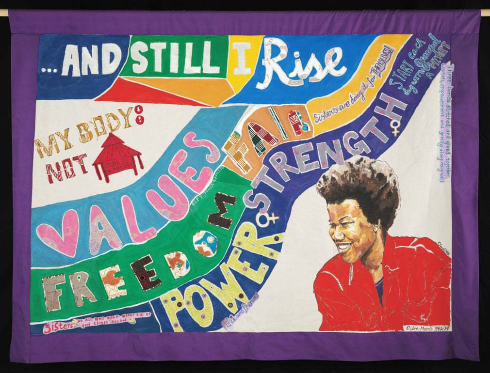 Multicolour banner with a textile collage of the words