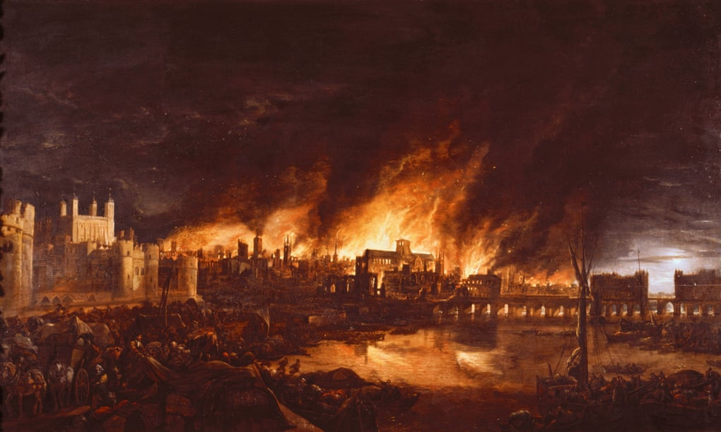 A painting of buildings on fire. Flames ruse above the rooftops