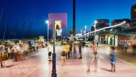 Brighton Basketball Court at night