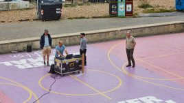 Sound engineers on the basketball court