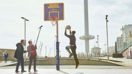 John and Mike Furness recording sounds on the basketball court
