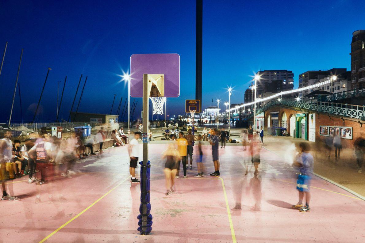 Slow shutter speed photo of the brighton beach basketball court at night
