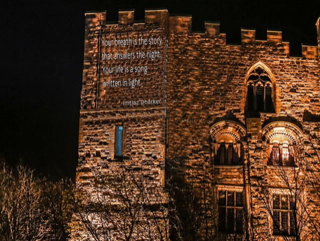 Rendering of poem projected onto the walls of Durham Castle