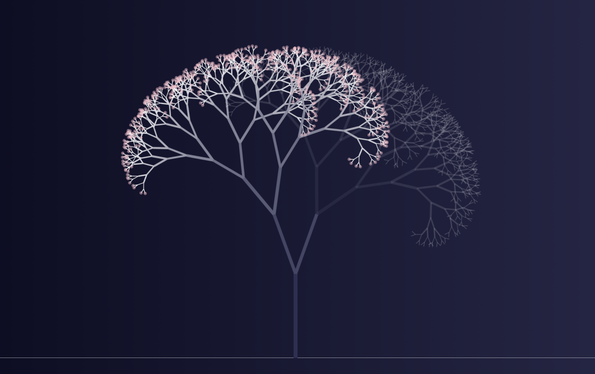 An animated cherry blossom tree on a blue backdrop